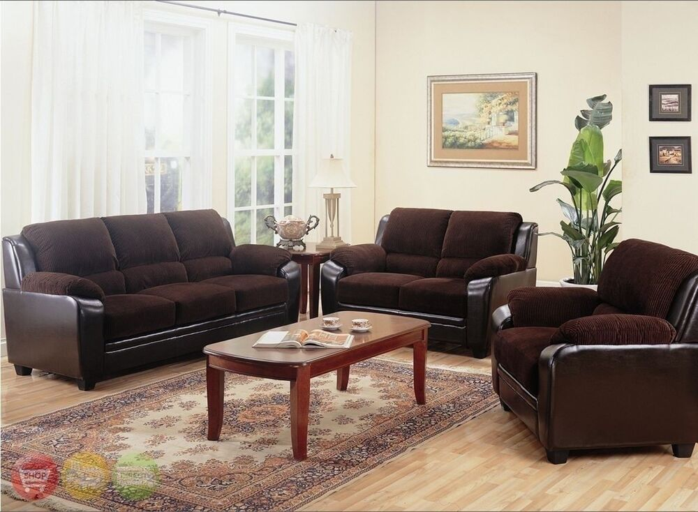 Monika chocolate sofa loveseat chair casual 3 piece for Drawing room furniture set