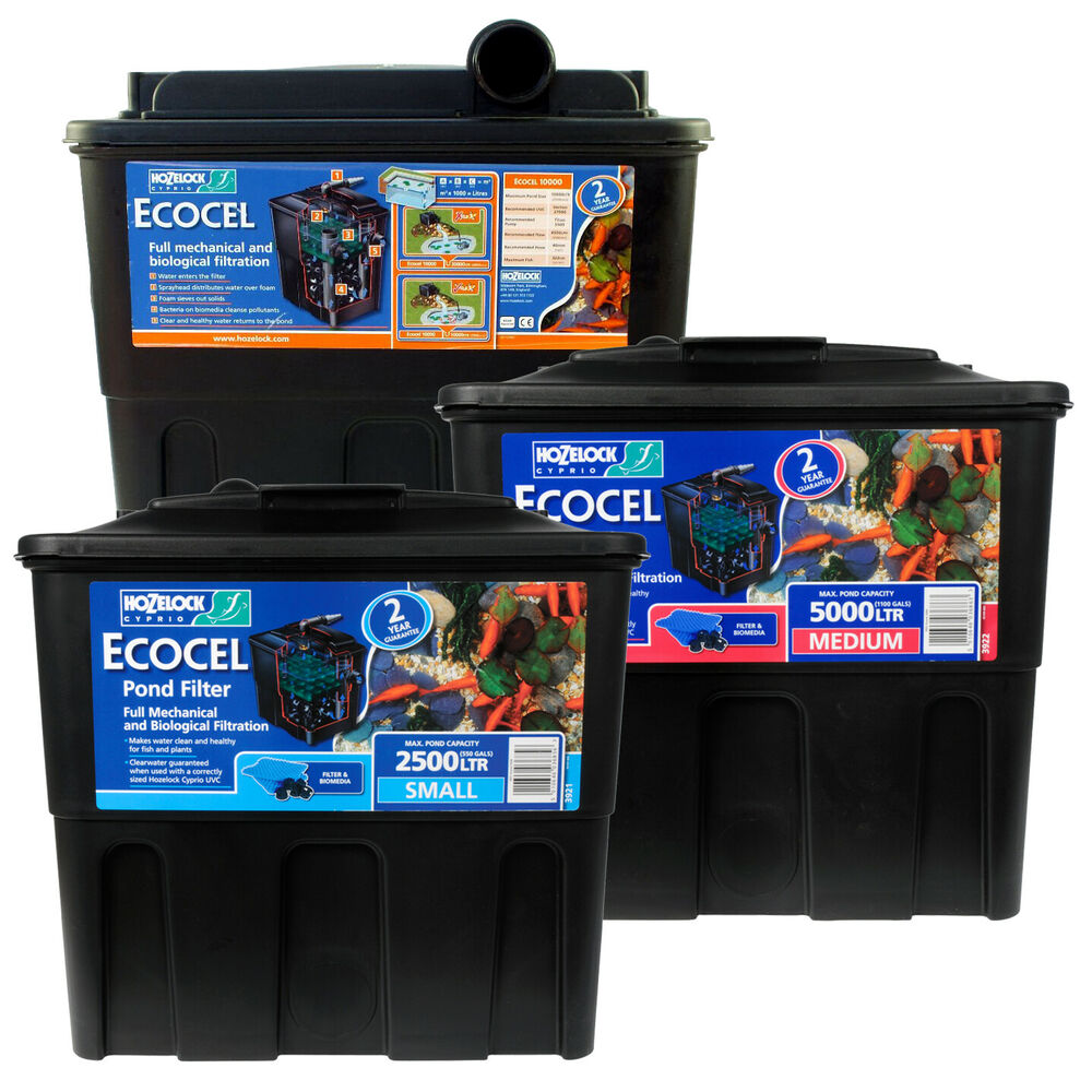 Hozelock ecocel pond filter fish gravity media box system for Small pond filter box