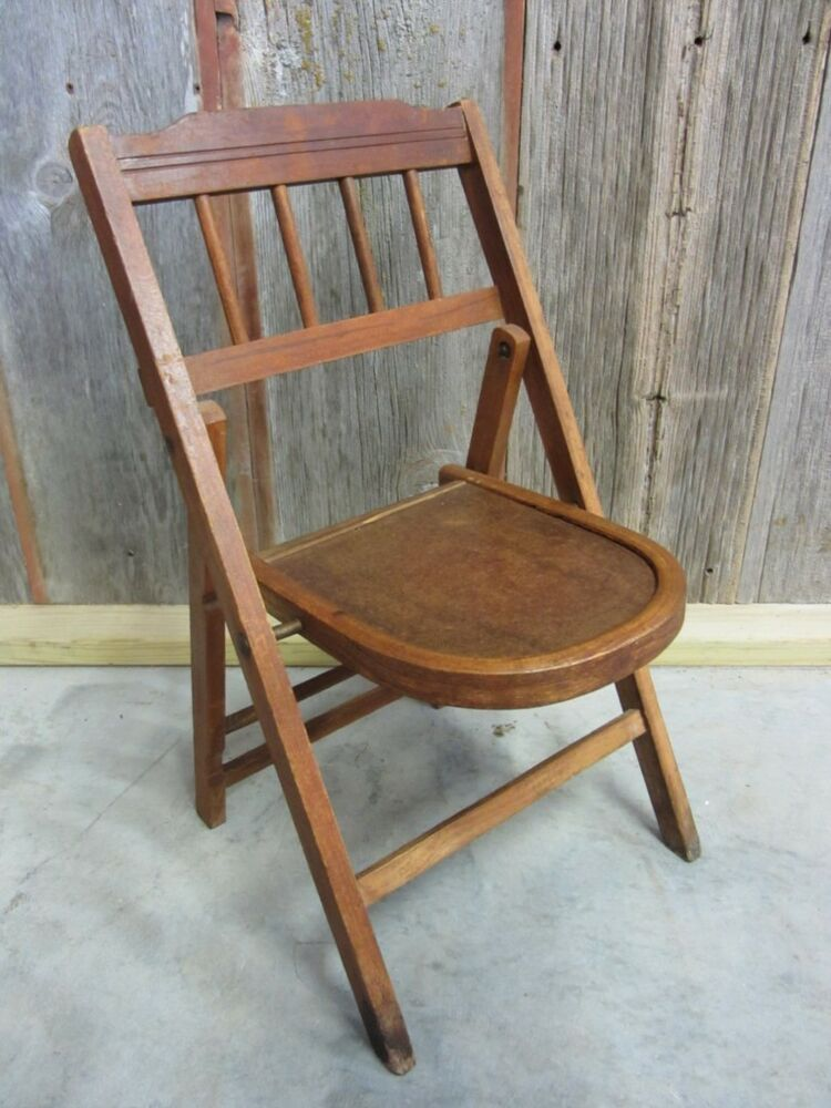 Wood Folding Chairs ~ Vintage wooden folding chair gt antique table stand old