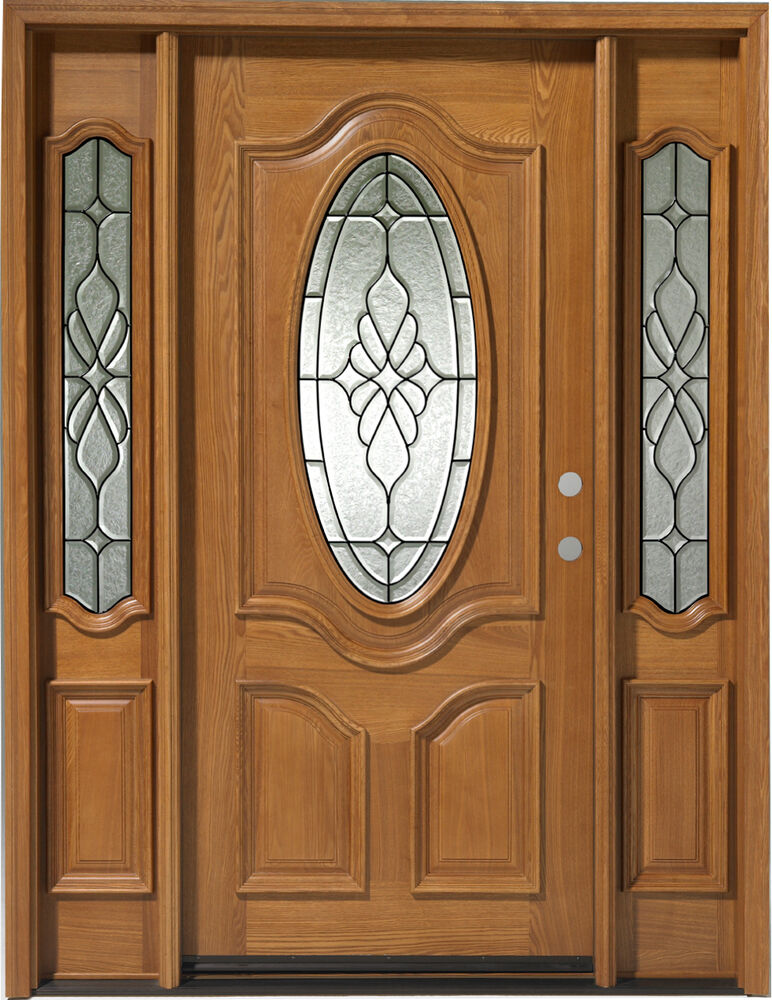 Holiday sale solid wood entry 1 door w 2 sl prehung for Solid wood exterior doors for sale