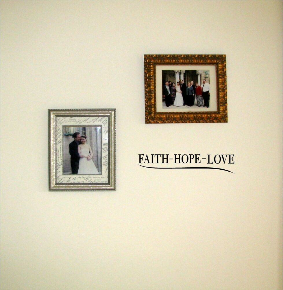 faith hope love vinyl wall decal sticky decor letters inspirational graphics ebay. Black Bedroom Furniture Sets. Home Design Ideas