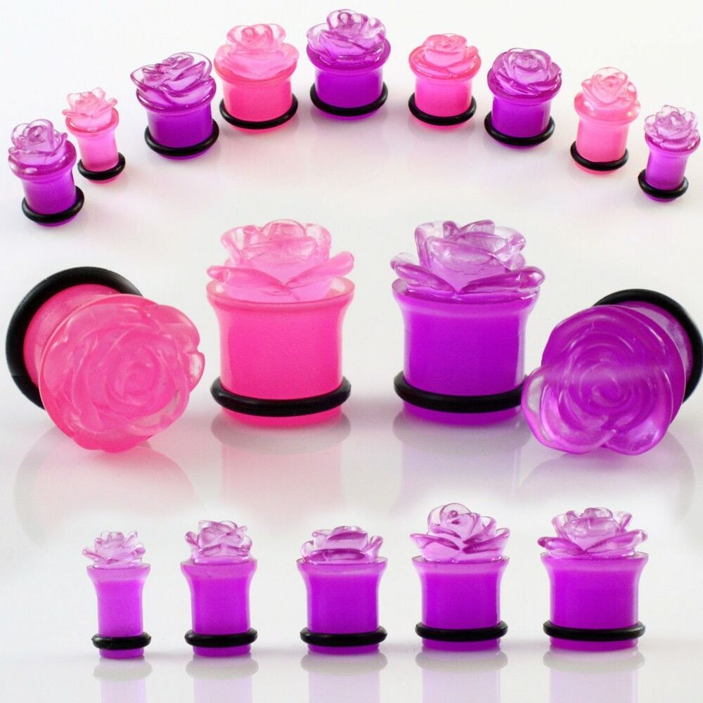 Pair of Pink Acrylic Carved Rose Flower Plugs Ear Gauges ...