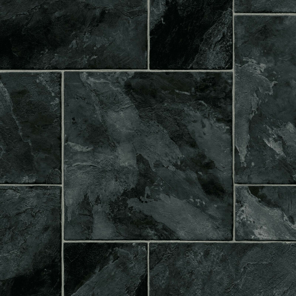 Black random tile vinyl flooring slip resistant lino 3m for Black vinyl floor tiles