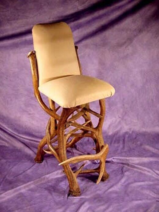 Real Antler Elk Bar Chair With Buffalo Hide Furniture Chandelier Stool Ebay