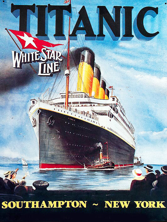 titanic 1912 poster cross stitch chart
