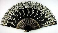 Black & WhiteGold Spanish Wedding Party Folding Beautiful Dancing Hand Fan NEW