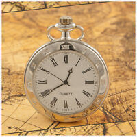 Antique Style Silver Quartz Pocket Watch On Chain 003S