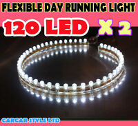 2 x Car White 48 LED Bulb Flexible Light Strip 48cm 12V Waterproof