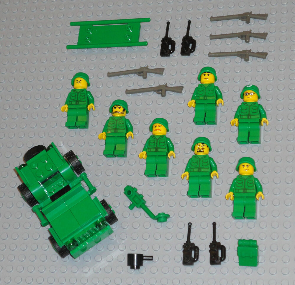 lego minifigures 7 army men military soldiers rifles lego jeep minifigs guys ebay. Black Bedroom Furniture Sets. Home Design Ideas