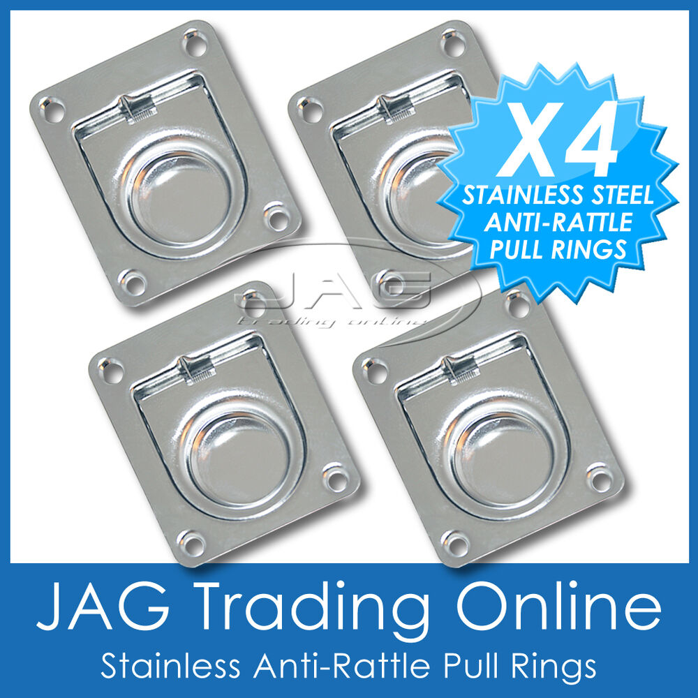 4 X Stainless Steel Anti Rattle Flush Pull Rings Boat