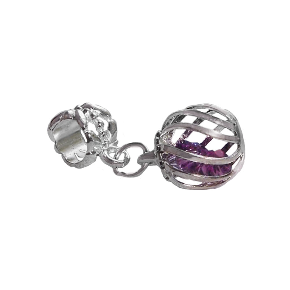 Birthstone Charm Bracelet: Caged Purple February Birthstone Crystal Dangle Bead For