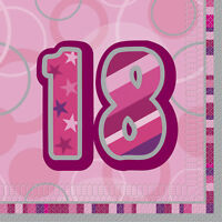16 3Ply Pink and Silver 18th Birthday Party Napkins