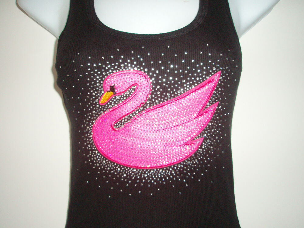 RHINESTONE & PINK SEQUIN PATCH SWAN TANK TOP,BLACKS SIZE