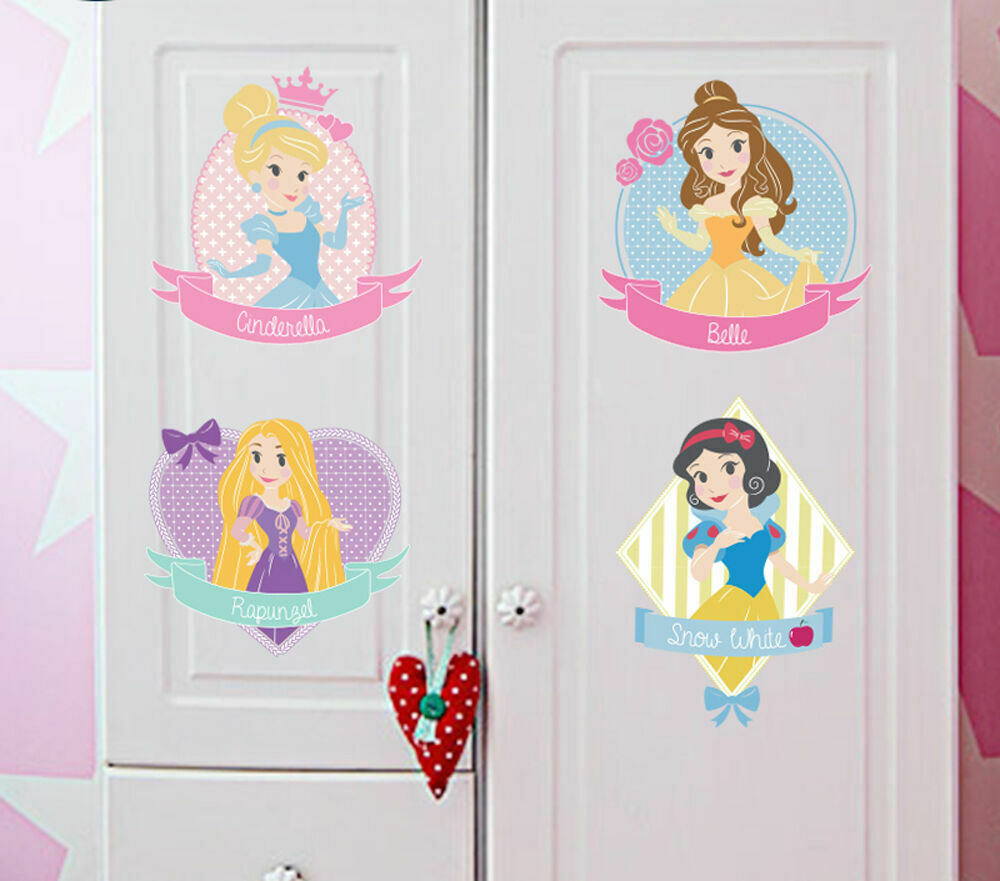 Disney princess girls nursery wall stickers art mural kids for Girls murals