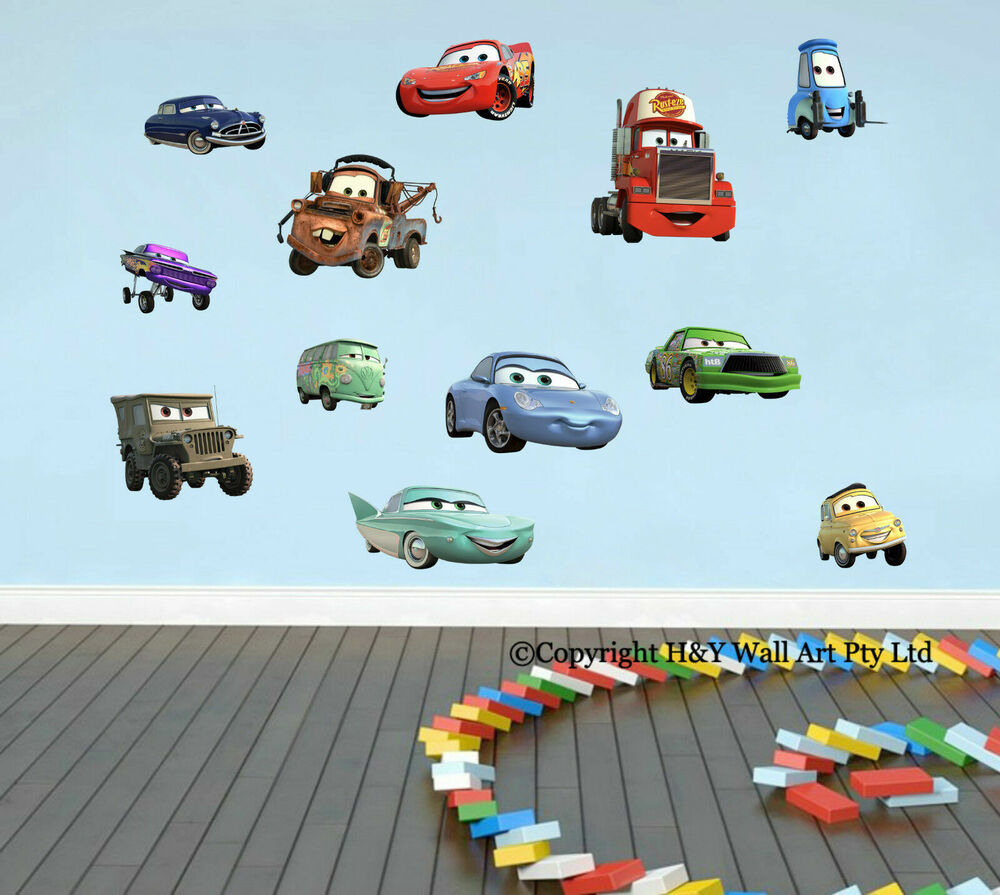 12 pcs full set disney cars wall stickers removable decal for Disney cars wall mural full wall huge
