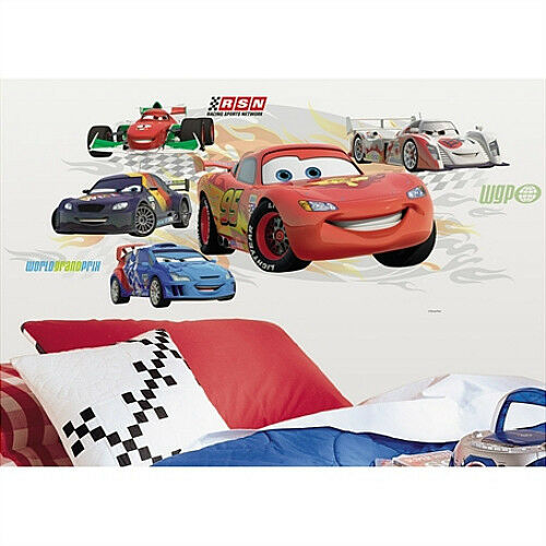 Cars 2 lightning mcqueen group wall decals with for Cars 2 wall mural
