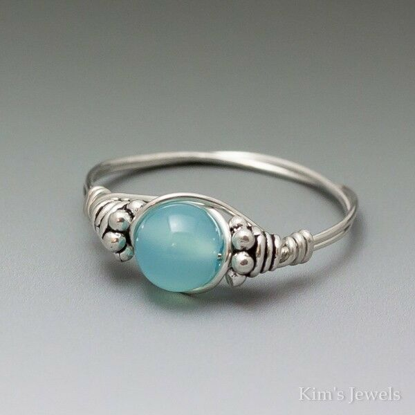 Wire Ring Beads: Aqua Blue Chalcedony Bali Sterling Silver Wire Wrapped