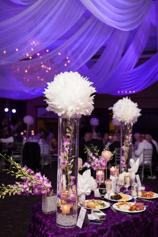 Beautiful white feather ball centerpieces wedding