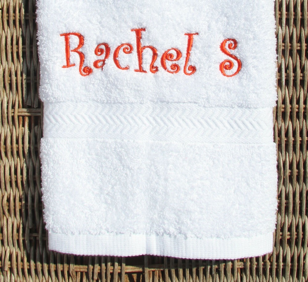 Personalized Towels: Personalized Embroidered White Hand Towel