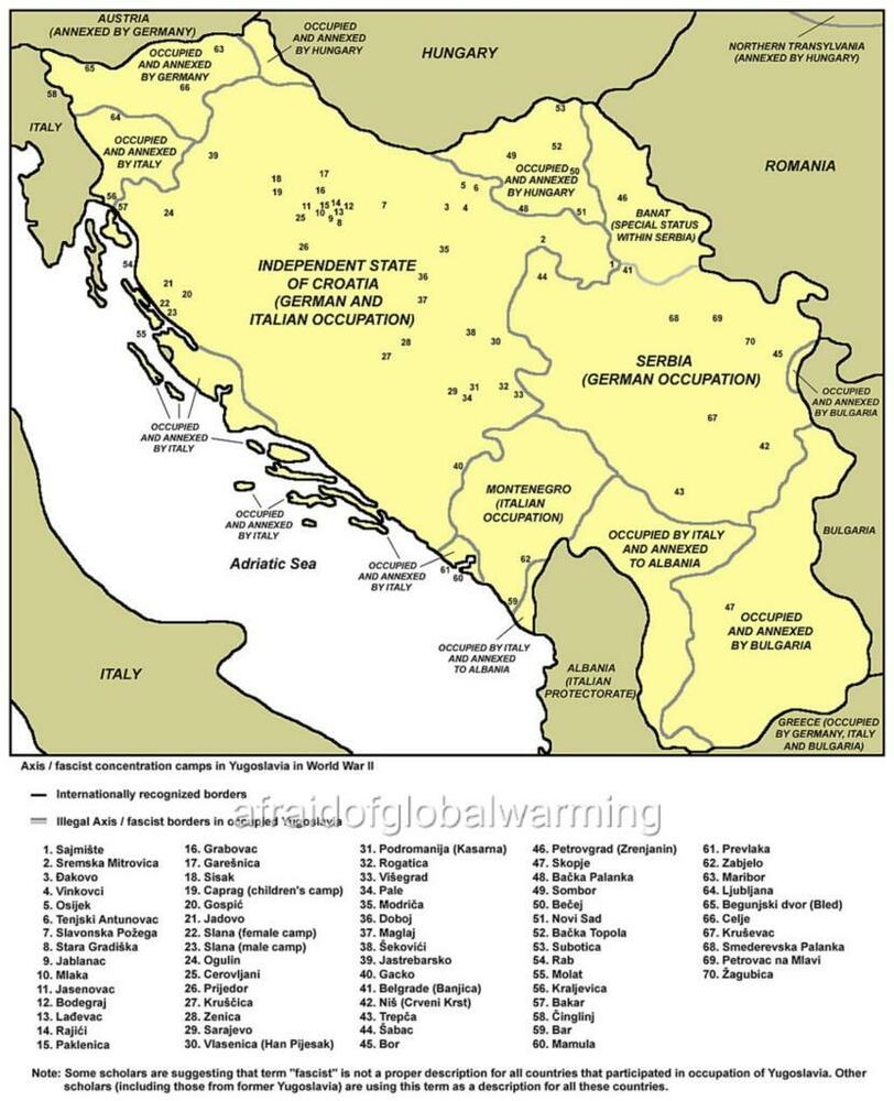 Map. WW2. Yugoslavia. Axis / Fascist Concentration Camps ...
