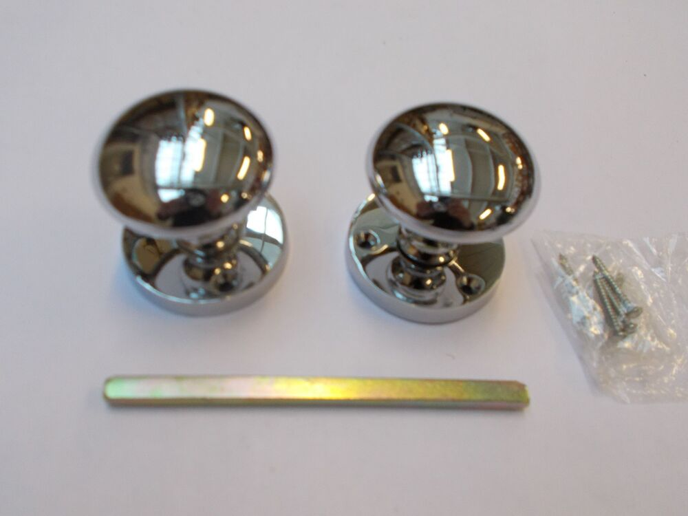 Polished Chrome Victorian Round Mortice Door Knobs Pull