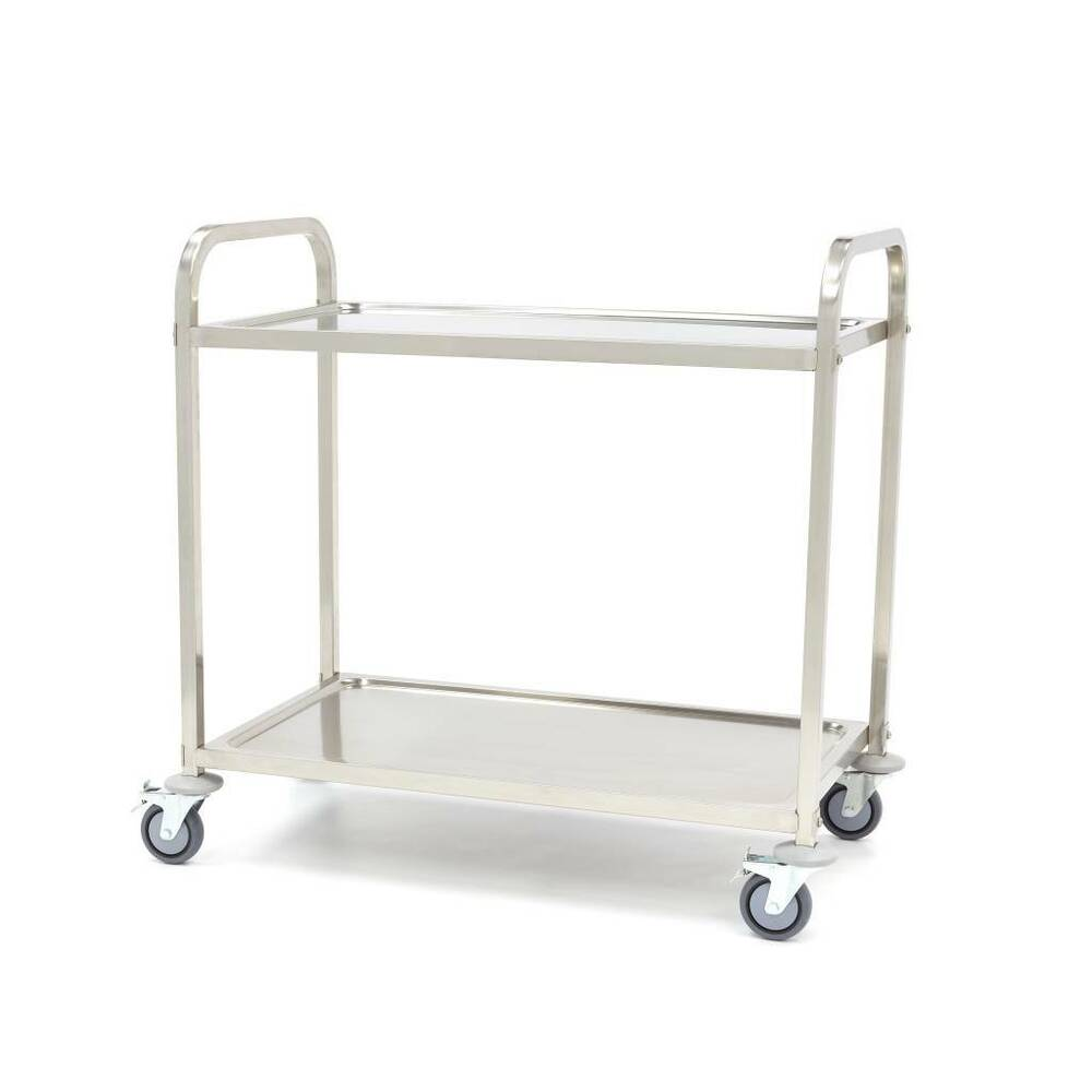 2 TIER STAINLESS STEEL KITCHEN DINING FOOD TROLLEY SERVING
