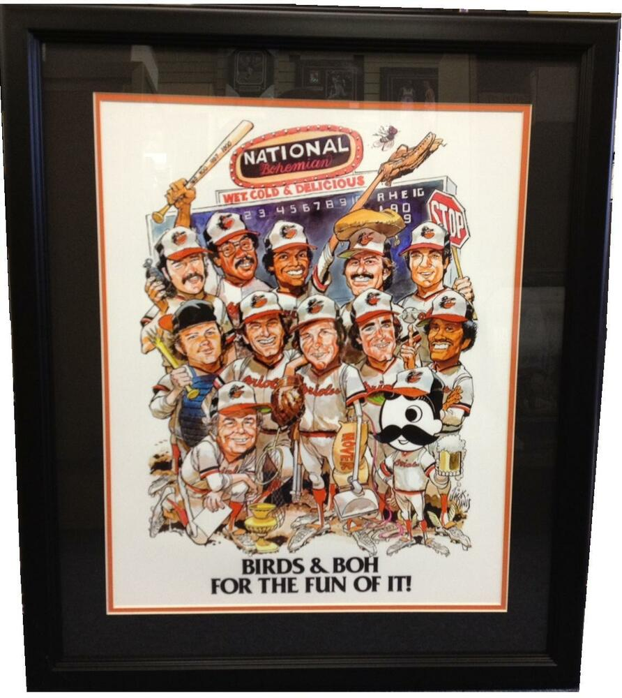Baltimore Orioles And Natty Boh National Bohemian Framed