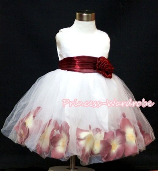 White Wine Red Gown Wedding Party Tutu Skirt Bridal Flower