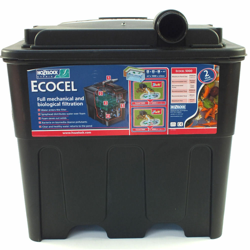 Hozelock ecocel 5000 black box pond filter system ebay for Koi pond filter box