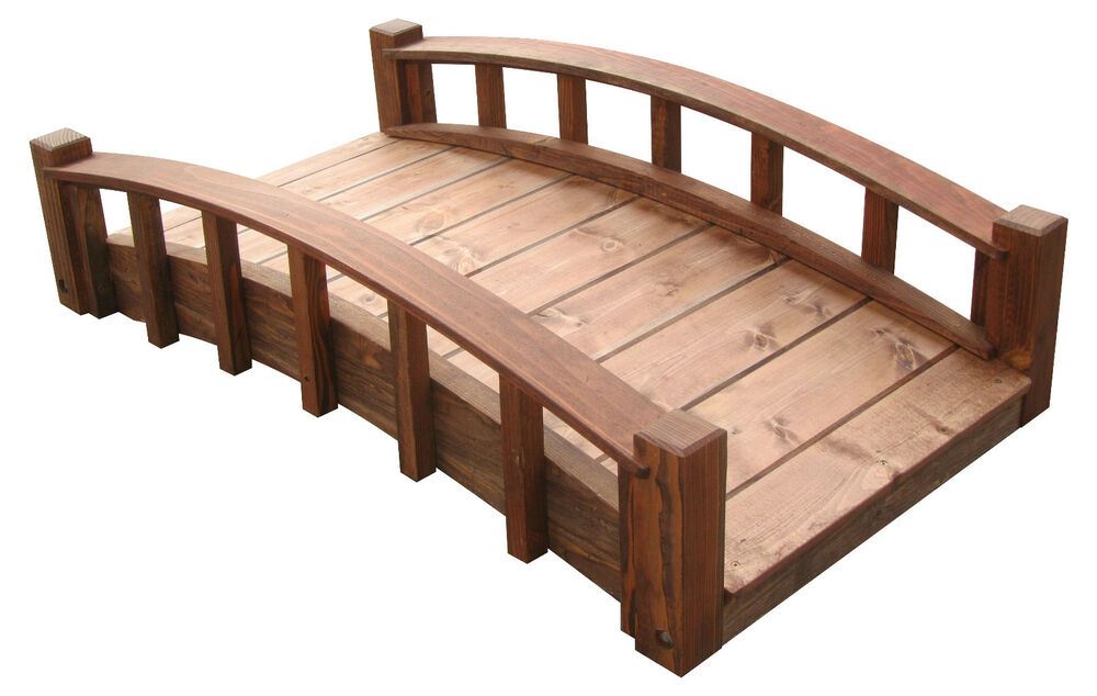 4' Japanese Wood Garden Bridges with Arched Railings, Made ...