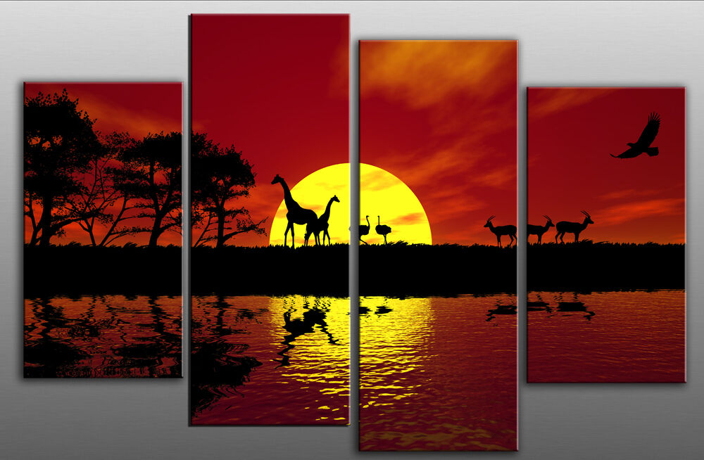 Extra Large 5ft Wide Africa Red Toned Canvas Pictures 4