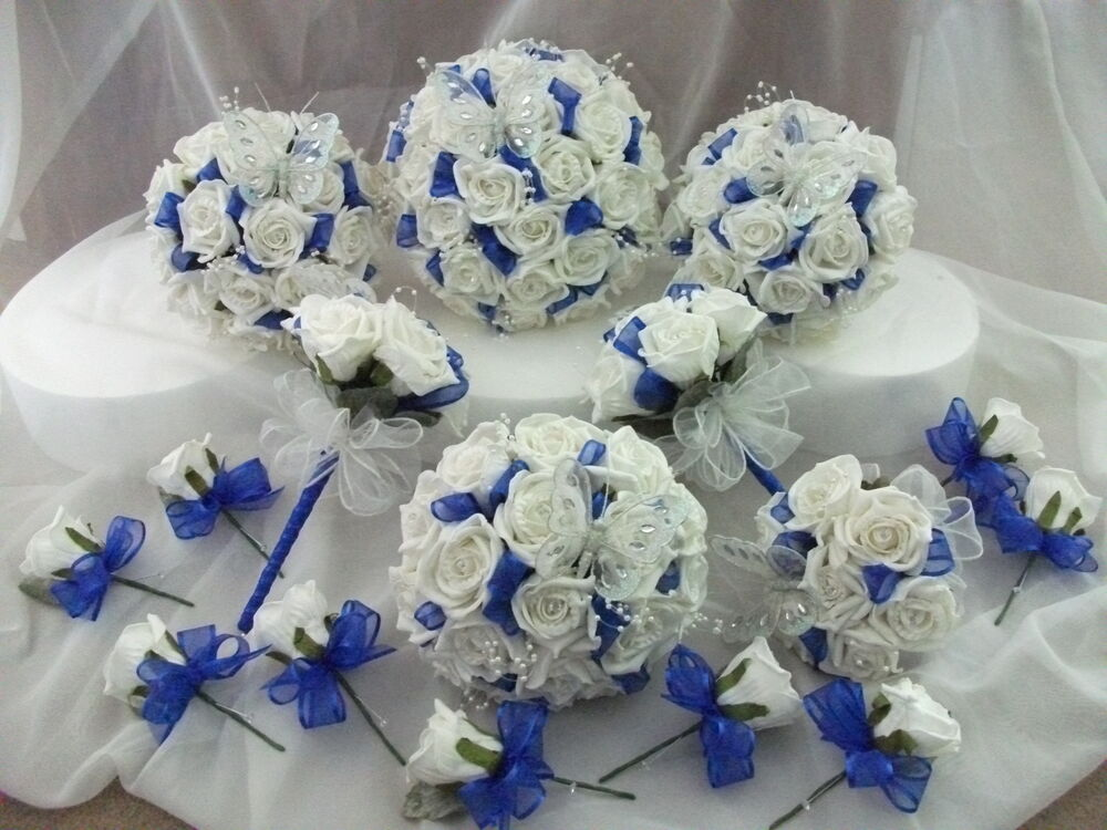 Royal blue and white wedding bouquet flowers package ebay for Blue and white weddings