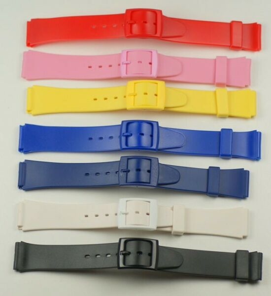 Rubber resin BRIGHT COLOURED value watch straps red pink yellow blue white black