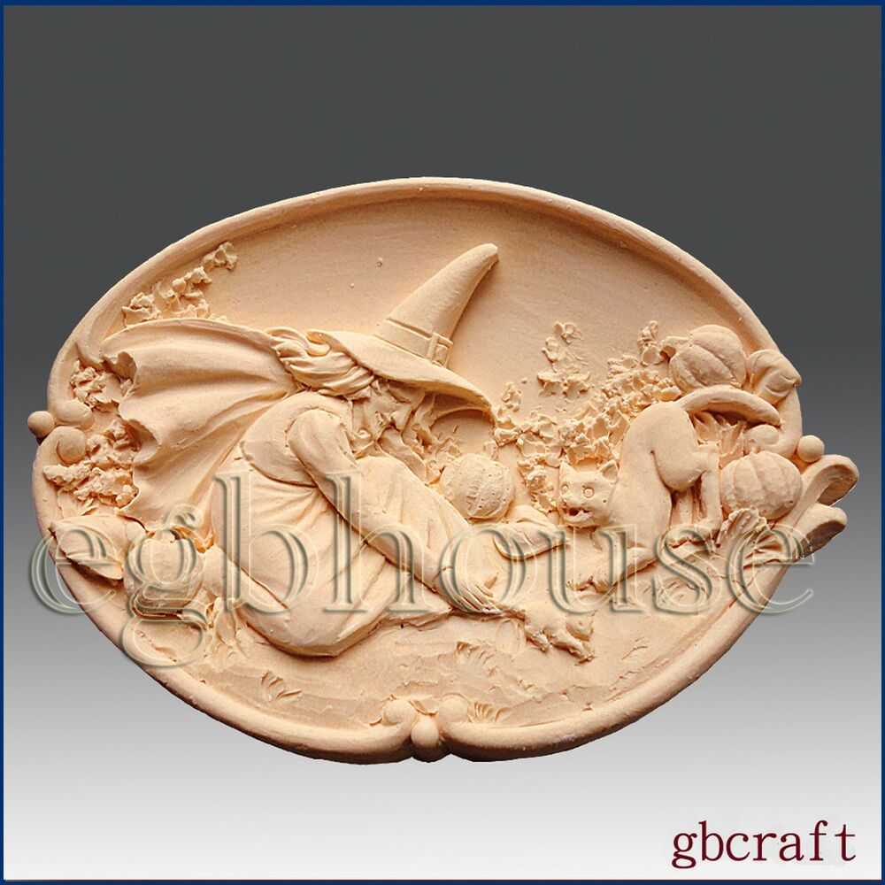 2d Silicone Soap Mold Halloween Witch Cat And Mouse