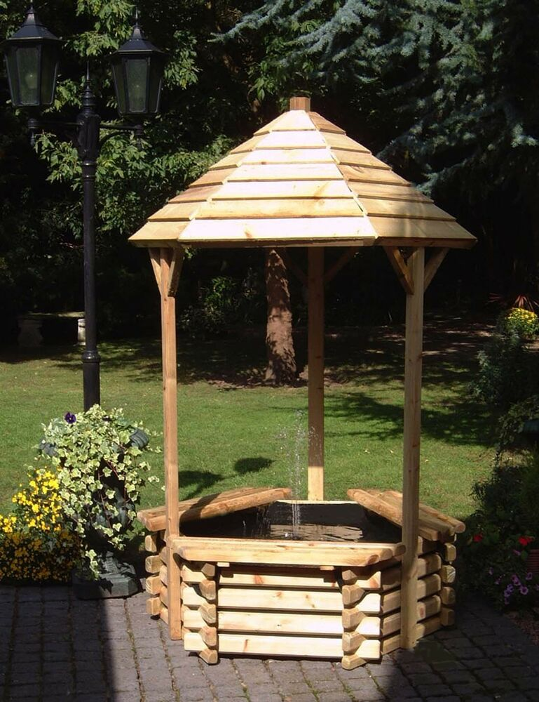 New Wooden Wishing Well Pond Garden Water Feature
