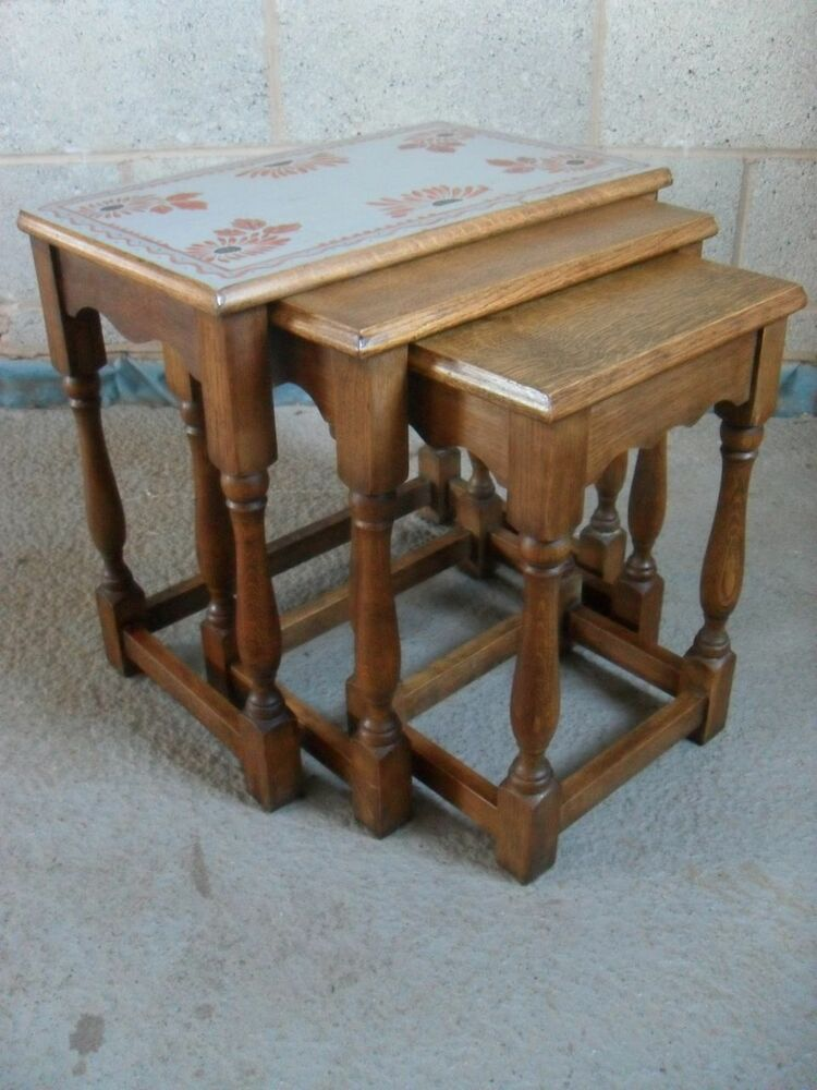 Oak nest of sturdy rectangular tables ebay