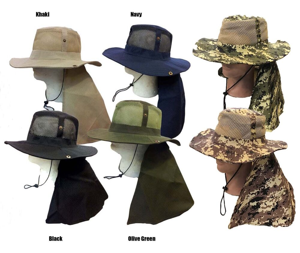 Boonie fishing hiking army military long flap snap mesh for Fishing neck cover