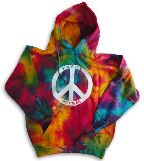peace sign not war tie dyed hoodie pull over hooded. Black Bedroom Furniture Sets. Home Design Ideas