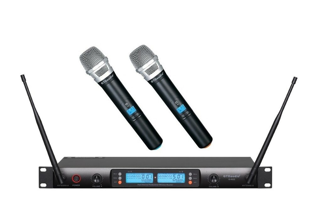 gtd audio 2x100 channel uhf wireless hand held microphone mic system 622h 13964204940 ebay. Black Bedroom Furniture Sets. Home Design Ideas