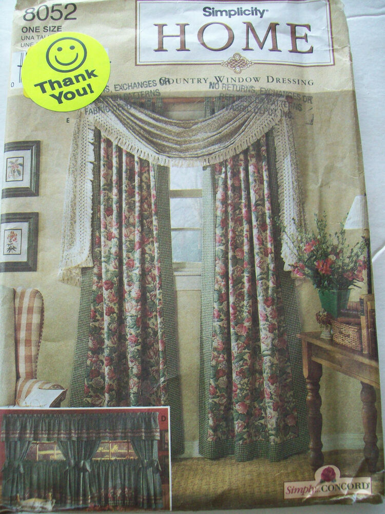 Simplicity Home Decorating Pattern Country Window Dressing