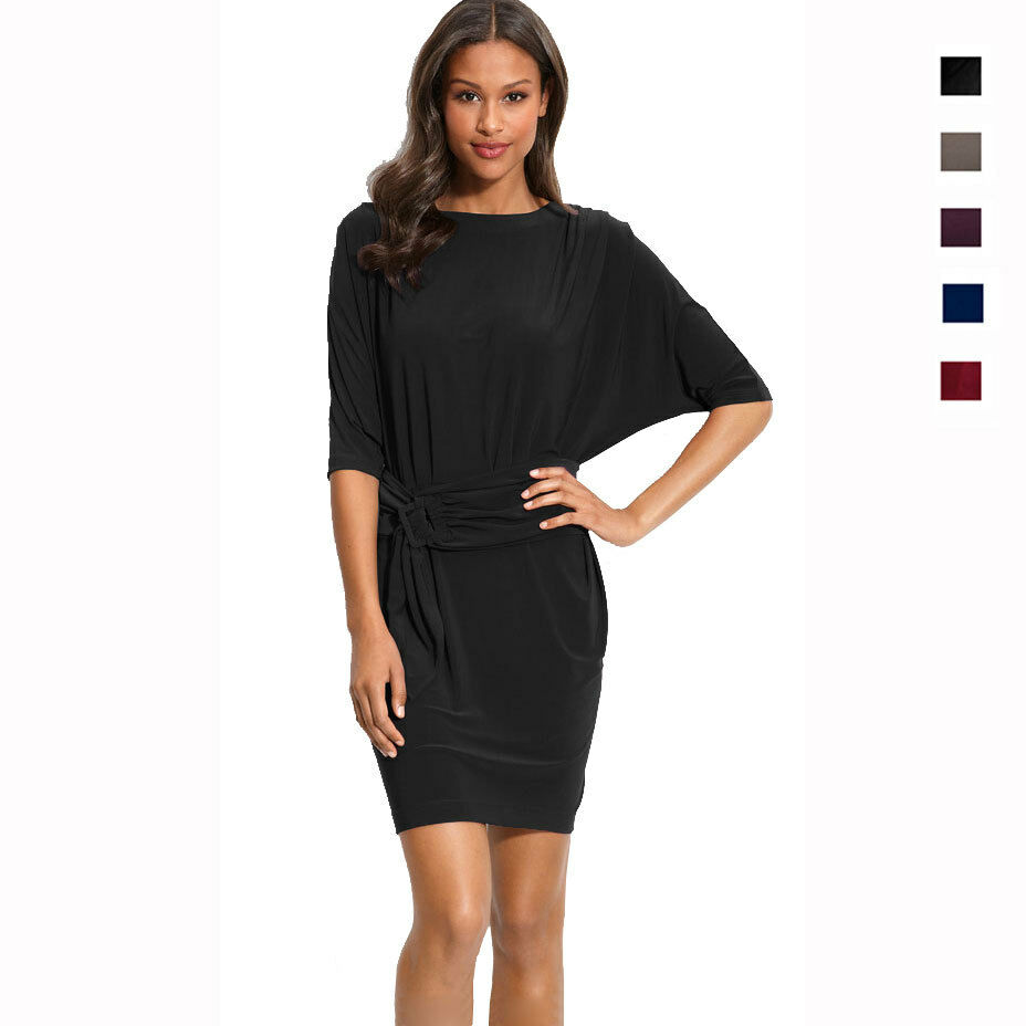 Batwing Sleeves Crewneck Jersey Party Day Night Cocktail