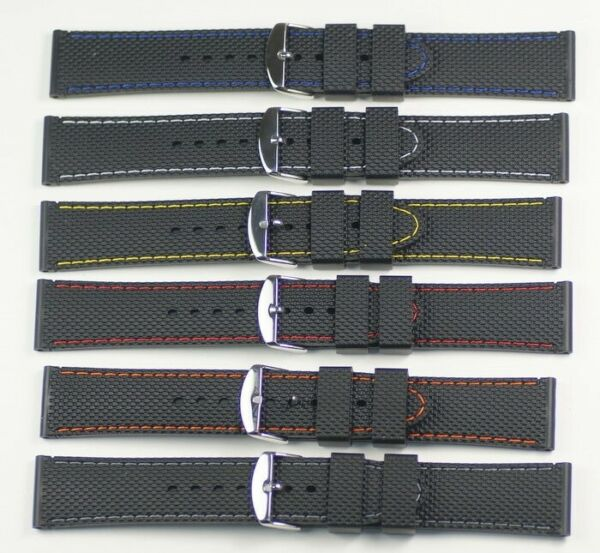 Black Silicon racing watch strap coloured stitching waterproof divers rubber