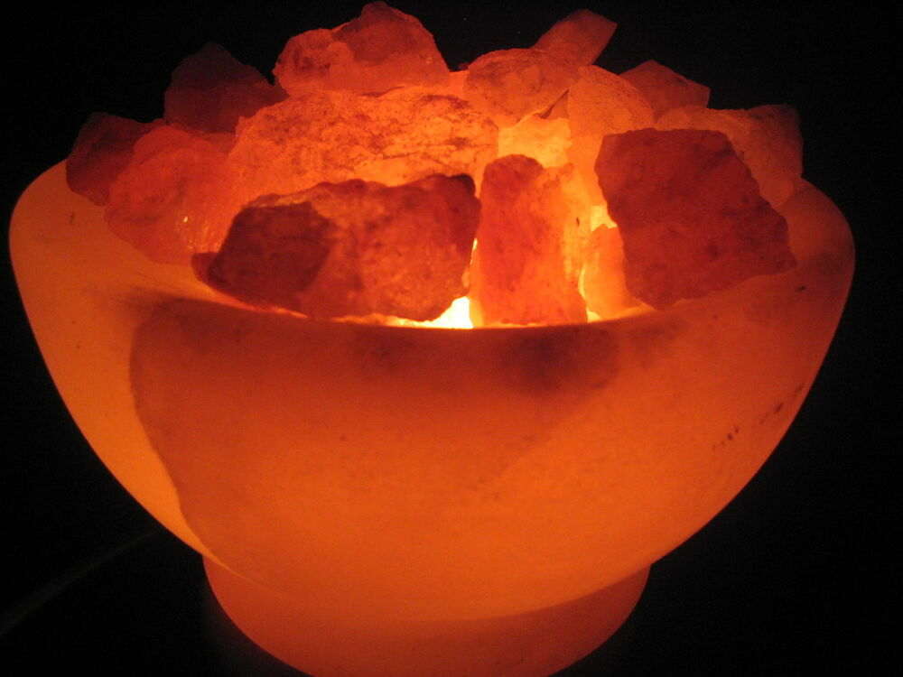 Set of Two Himalayan Bowl of Fire Rock Salt Lamp with Two Cords and Bulbs eBay