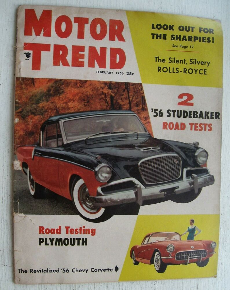 motor trend magazine feb 1956 road tests plymouth 56 studebaker ebay. Black Bedroom Furniture Sets. Home Design Ideas