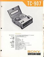 SONY TC-907 SERVICE MANUAL for an AUDIO TAPE  RECORDER