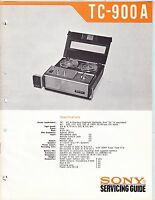 SONY TC-900-A SERVICE MANUAL for an AUDIO TAPE  RECORDER