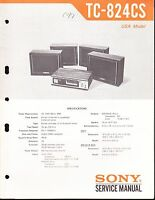 SONY TC-824-CS SERVICE MANUAL for an 8 TRACK TAPE  RECORDER