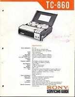 SONY TC-860 SERVICE MANUAL for an AUDIO TAPE  RECORDER