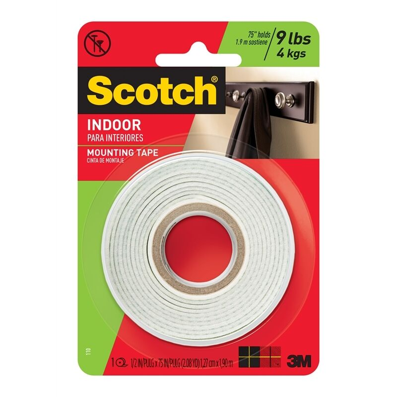 2x scotch 110 indoor double sided foam mounting tape ebay. Black Bedroom Furniture Sets. Home Design Ideas