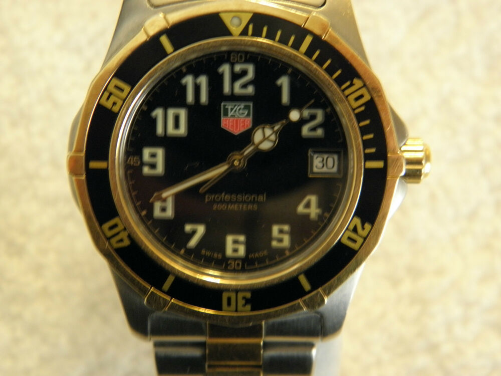 Tag heuer wm1120 professional 200 meter two tone quartz divers watch ebay for Tag heuer divers watch